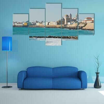 Beach Of Cadiz In Andalucia - 5 Panel Canvas Print Wall Art Set