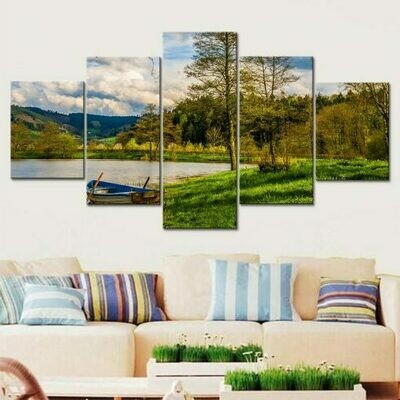 Boat And Lake - 5 Panel Canvas Print Wall Art Set