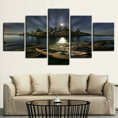 Boat Ashore At Night - 5 Panel Canvas Print Wall Art Set