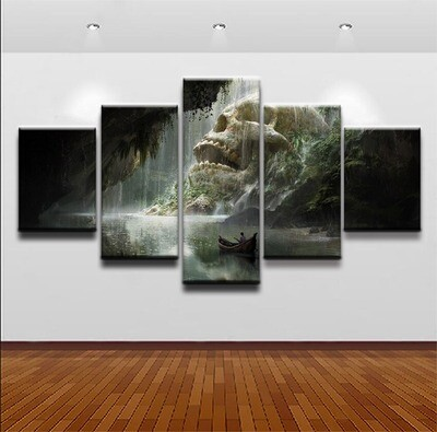 Boat Cave River Skull Waterfall - 5 Panel Canvas Print Wall Art Set
