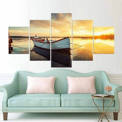 Boat On Lake With The Water At Sunset - 5 Panel Canvas Print Wall Art Set