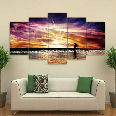 Beach Rosy Clouds - 5 Panel Canvas Print Wall Art Set