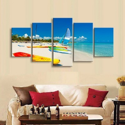 Beach Sea Boat - 5 Panel Canvas Print Wall Art Set