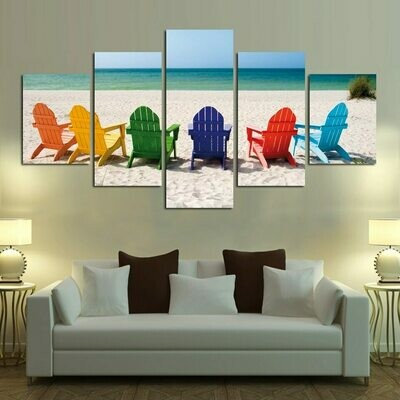 Beach Colorful Chair - 5 Panel Canvas Print Wall Art Set
