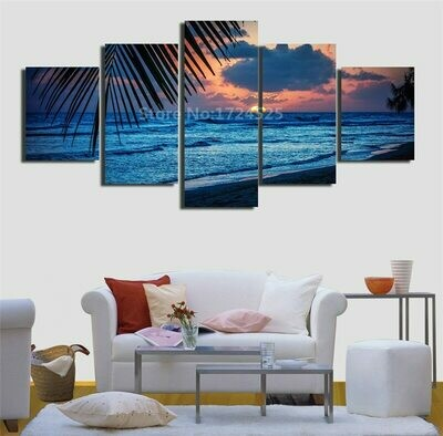 Beach Evening - 5 Panel Canvas Print Wall Art Set