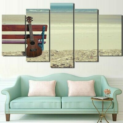 Beach Guitar - 5 Panel Canvas Print Wall Art Set