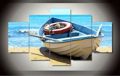 Blue Ocean And Boat - 5 Panel Canvas Print Wall Art Set