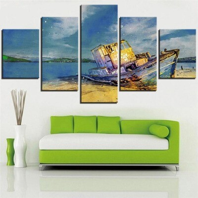 Blue Sky Pictures - 5 Panel Canvas Print Wall Art Set