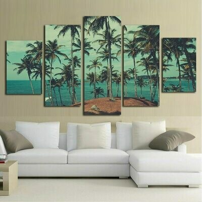 Beach Plam Trees - 5 Panel Canvas Print Wall Art Set