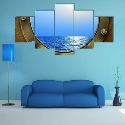 Boat Porthole With Ocean - 5 Panel Canvas Print Wall Art Set