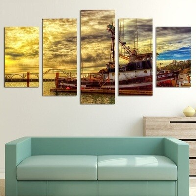 Boat Sea - 5 Panel Canvas Print Wall Art Set