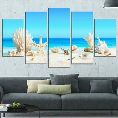 Beach Seashells Seascape - 5 Panel Canvas Print Wall Art Set