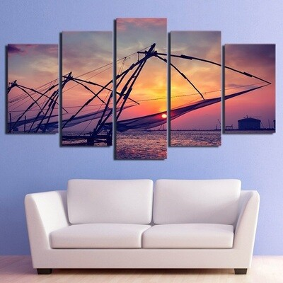 Dusk Bay Sailing Boats - 5 Panel Canvas Print Wall Art Set
