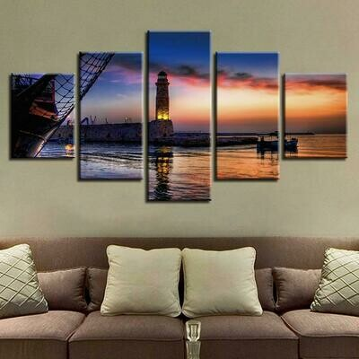 Dusk Lighthouse Lake Boat - 5 Panel Canvas Print Wall Art Set