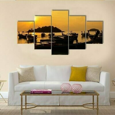 Fish Boat In Sea Sunlight - 5 Panel Canvas Print Wall Art Set