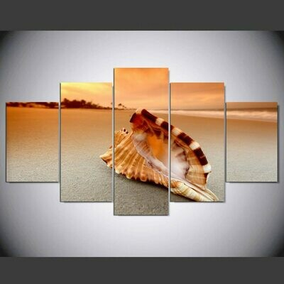 Beach Conch - 5 Panel Canvas Print Wall Art Set