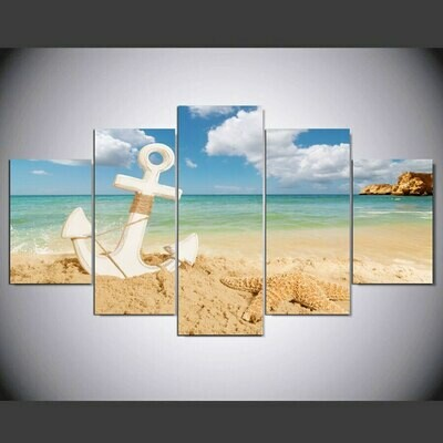 Beach Seascape Anchor With Starfish - 5 Panel Canvas Print Wall Art Set