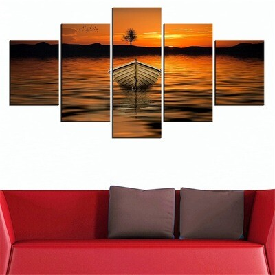 Brown Row Boat - 5 Panel Canvas Print Wall Art Set