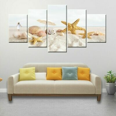 Beach Shell Starfish - 5 Panel Canvas Print Wall Art Set