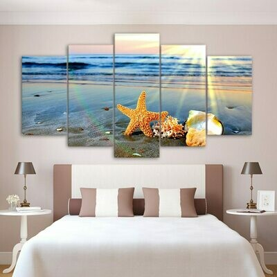 Beach Sights Sea Wave Shells - 5 Panel Canvas Print Wall Art Set