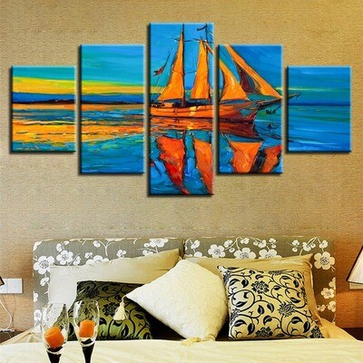 Color Sailboat Moon - 5 Panel Canvas Print Wall Art Set