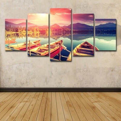 Contemporary Mountains And Lakes Boat - 5 Panel Canvas Print Wall Art Set