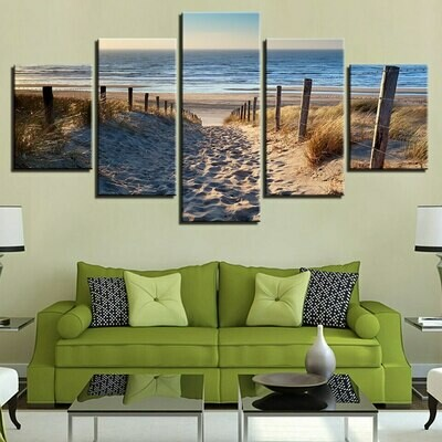 Beach Way - 5 Panel Canvas Print Wall Art Set
