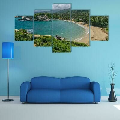 Beautiful Beach In Colombia - 5 Panel Canvas Print Wall Art Set