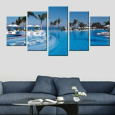Beautiful Beach Landscape - 5 Panel Canvas Print Wall Art Set