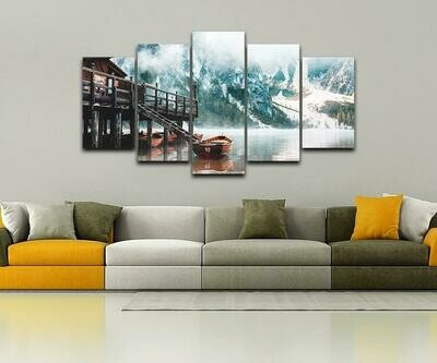 Foggy Lago Di Braies - 5 Panel Canvas Print Wall Art Set