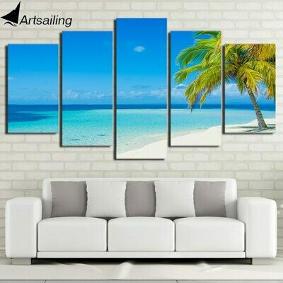 Blue Seascape - 5 Panel Canvas Print Wall Art Set