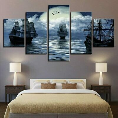 Full Moon Sailing Boat - 5 Panel Canvas Print Wall Art Set