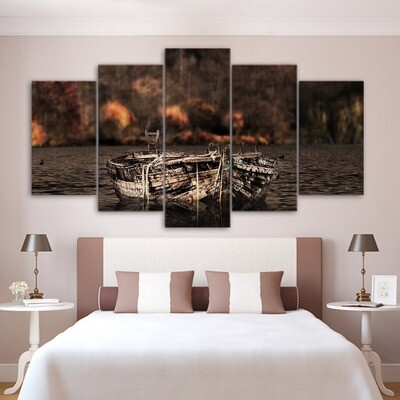 Gift Boat- 5 Panel Canvas Print Wall Art Set