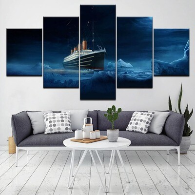 Iceberg Sea View Cruise Boat- 5 Panel Canvas Print Wall Art Set
