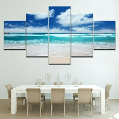 Blue Sky White Cloud Beach - 5 Panel Canvas Print Wall Art Set