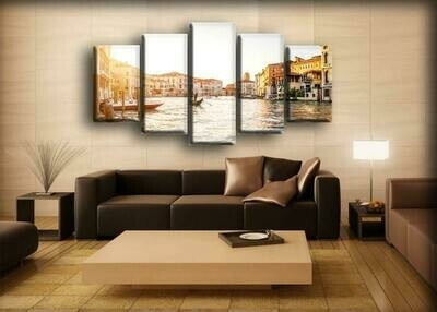 Italy Houses And Boat - 5 Panel Canvas Print Wall Art Set