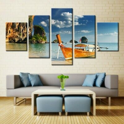 Boat Beach - 5 Panel Canvas Print Wall Art Set