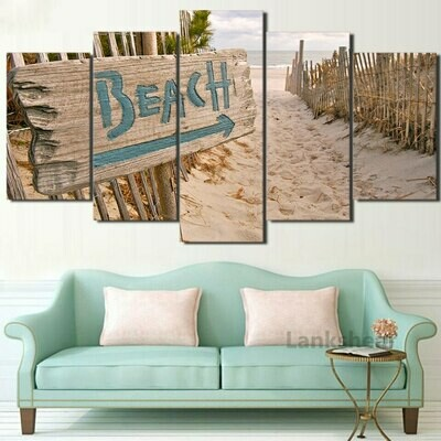 Beach Signpost - 5 Panel Canvas Print Wall Art Set