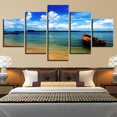 Cloud Lake Surface Boat - 5 Panel Canvas Print Wall Art Set