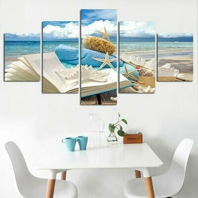 Beach Starfish - 5 Panel Canvas Print Wall Art Set