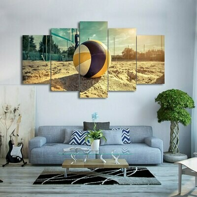 Beach Volleyball - 5 Panel Canvas Print Wall Art Set
