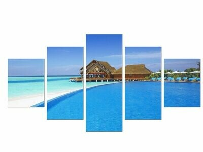 Blue Sky And Beach - 5 Panel Canvas Print Wall Art Set