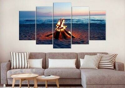 Bonfire On The Beach - 5 Panel Canvas Print Wall Art Set