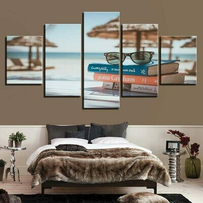 Book Glasses Beach - 5 Panel Canvas Print Wall Art Set