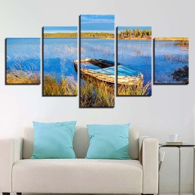 Lake Wall Art Boatl - 5 Panel Canvas Print Wall Art Set