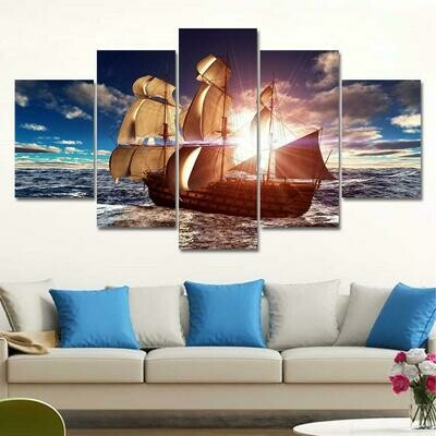 Old Sailing Ship - 5 Panel Canvas Print Wall Art Set