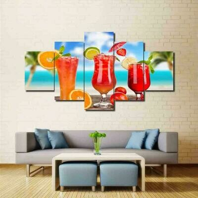 Cool Drink At Beach - 5 Panel Canvas Print Wall Art Set