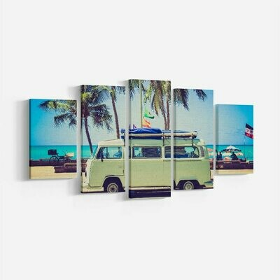 Green Bus And Palm Trees - 5 Panel Canvas Print Wall Art Set