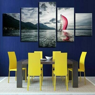 Sail Boat - 5 Panel Canvas Print Wall Art Set