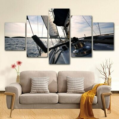 Sailing Yacht - 5 Panel Canvas Print Wall Art Set